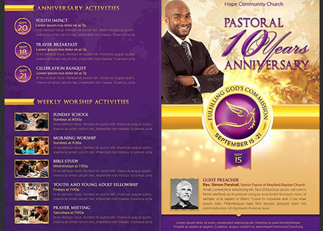 Clergy Anniversary Service Program Brochure Templates On