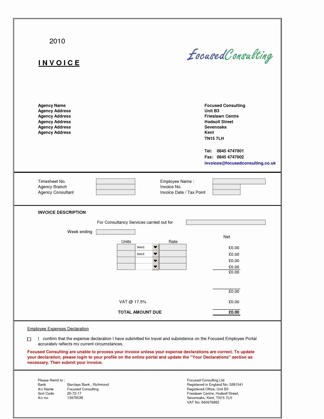 Consultant Invoice format Invoice Template Ideas
