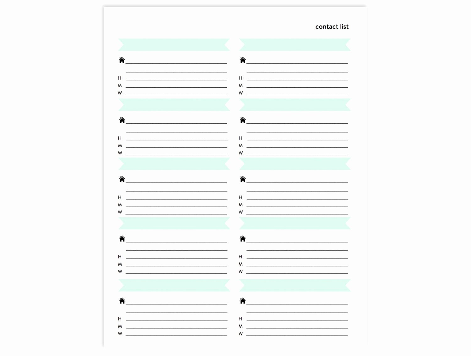 Contact List Printable Address Book Page Instant Download