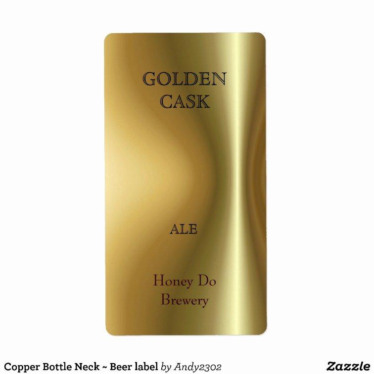 Copper Bottle Neck Beer Label