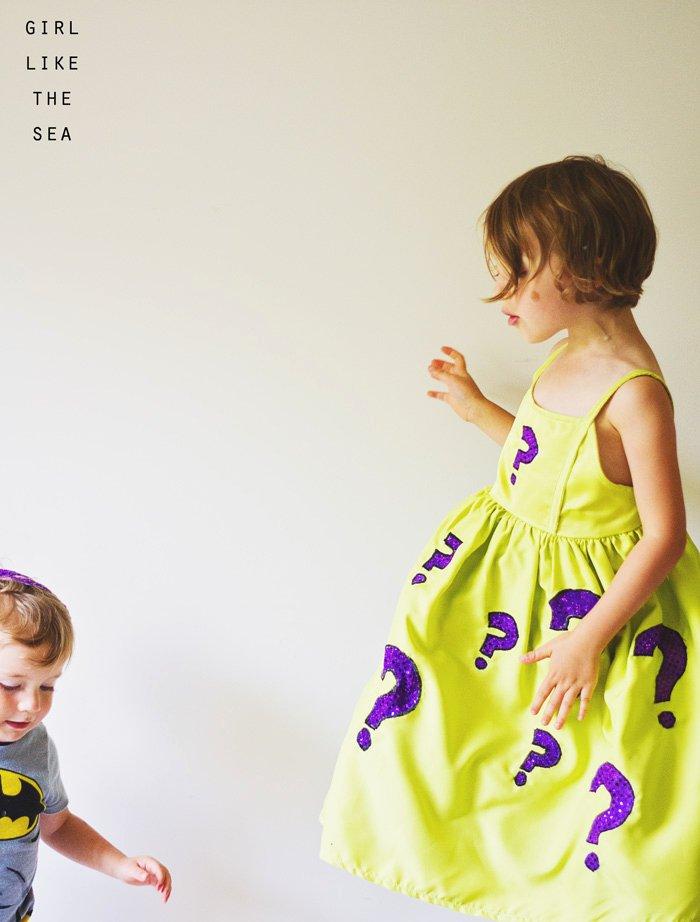 Cosplay Kids Riddler Dress Girl Like the Sea