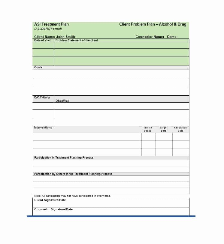 Counseling Treatment Plan Template Weoinnovate