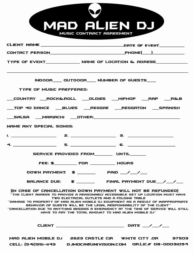 Dj Contract Examples Pdf