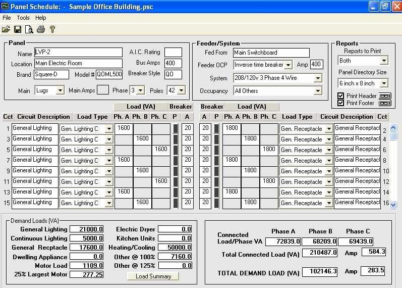 Download Electrical Panel Schedule Template software