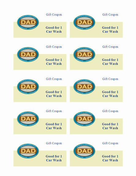 Download Free Father S Day T Coupons 10 Sheet Works