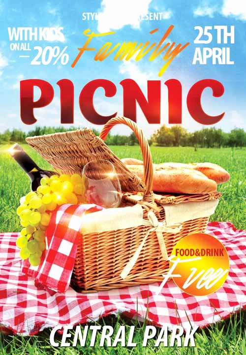 Download the Family Picnic Free Flyer Template for Shop
