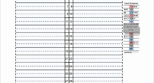 Electrical Panel Schedule Template – 8 Free Word Excel