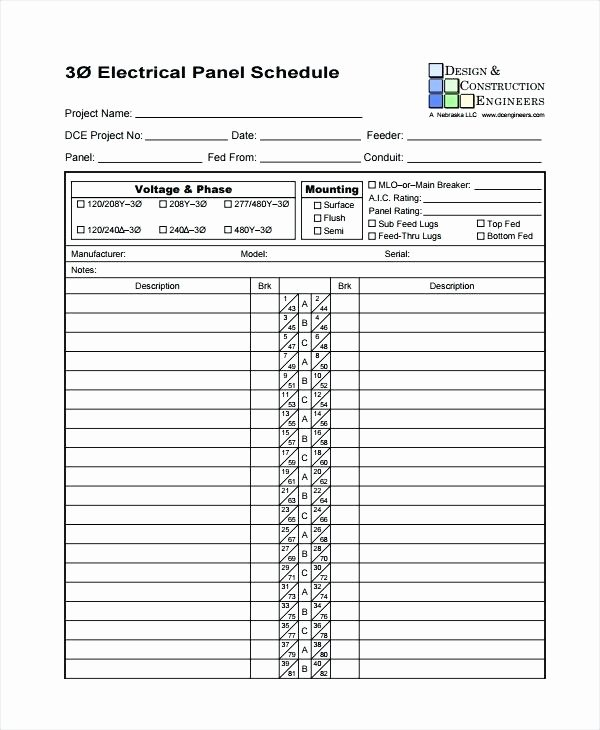 Electrical Panel Schedule Template Excel Change Request