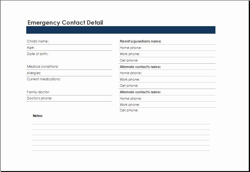 Emergency Contact List Template at Xltemplates