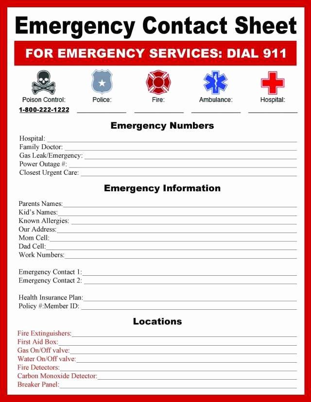 Emergency Contact Sheet Bugaboocity