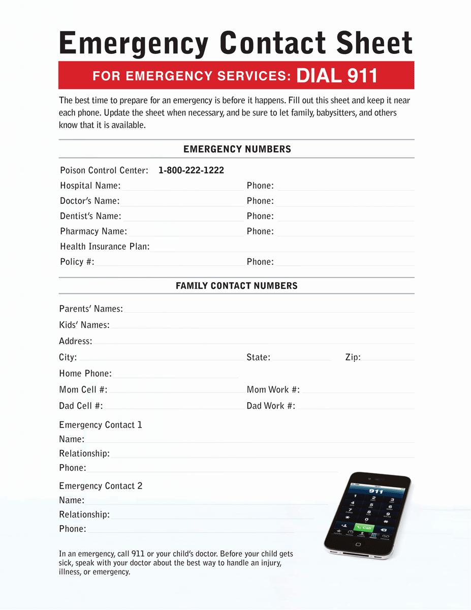 Emergency Contact Sheet Connecticut Children S Medical