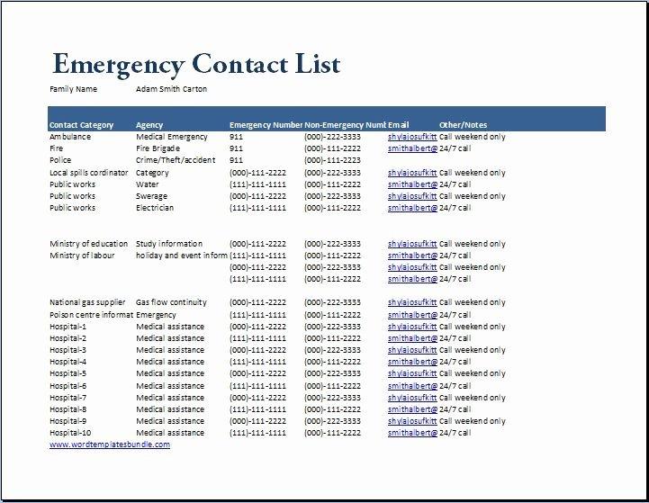Emergency Numbers List Template