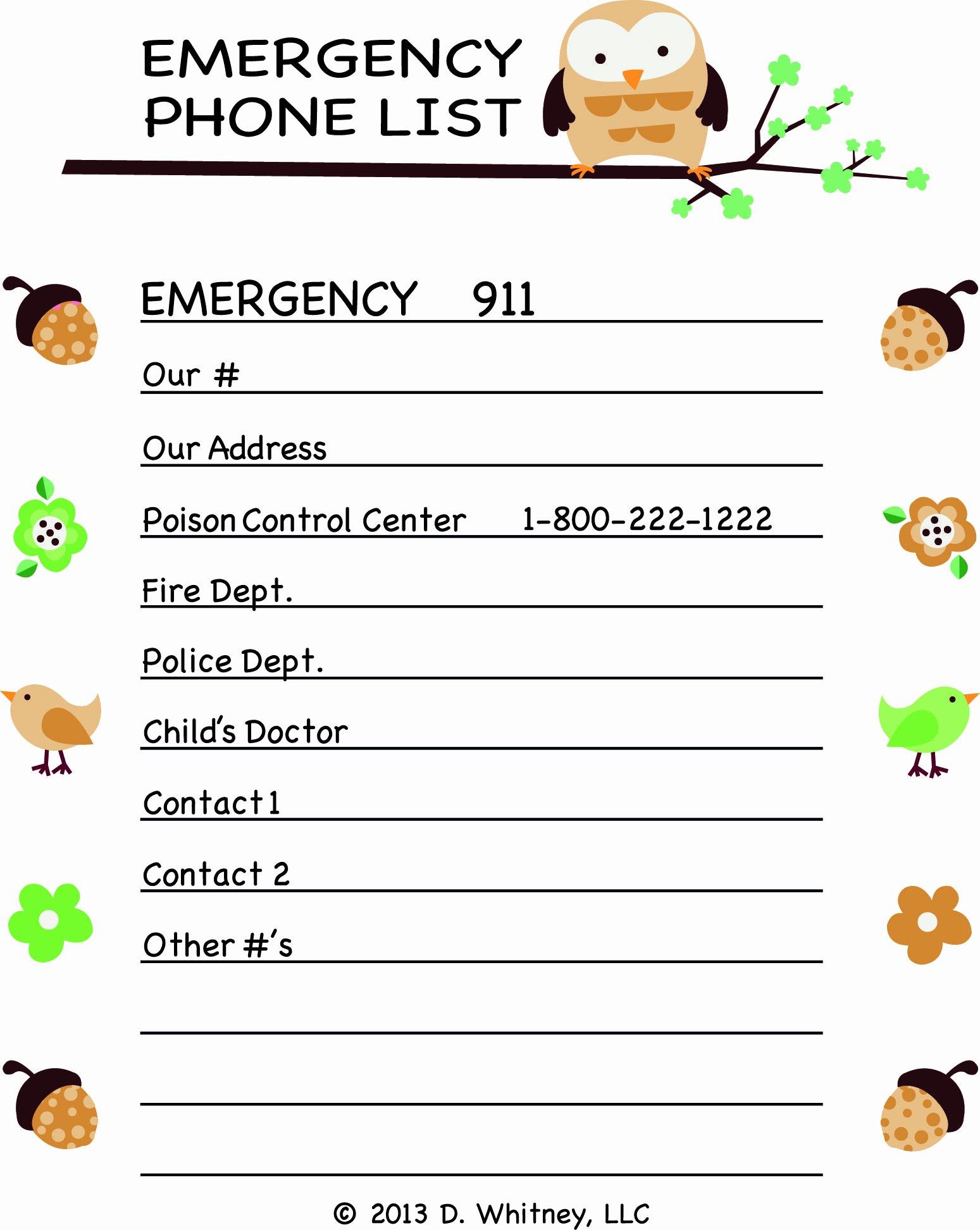 Emergency Phone List the Littles Pinterest
