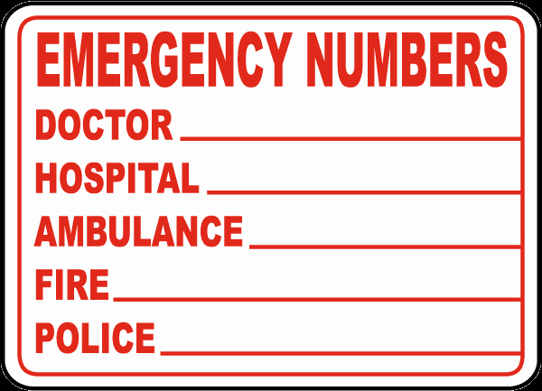 Emergency Phone Numbers Label D4631 by Safetysign