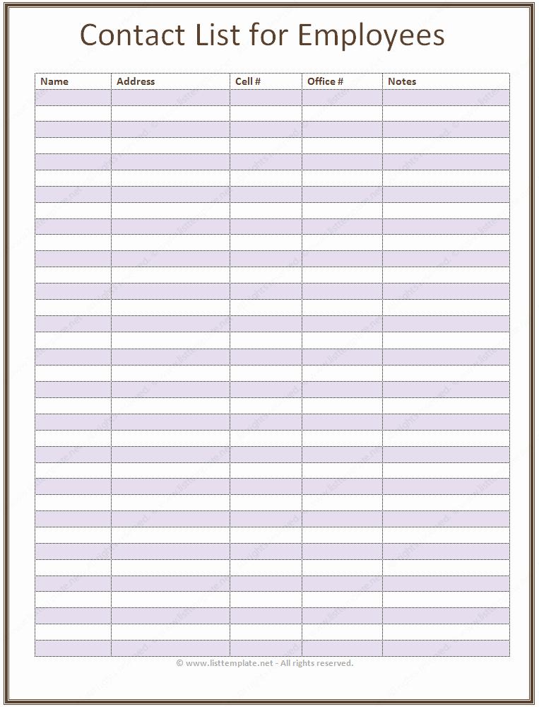 Employee Contact List Template Basic List Templates