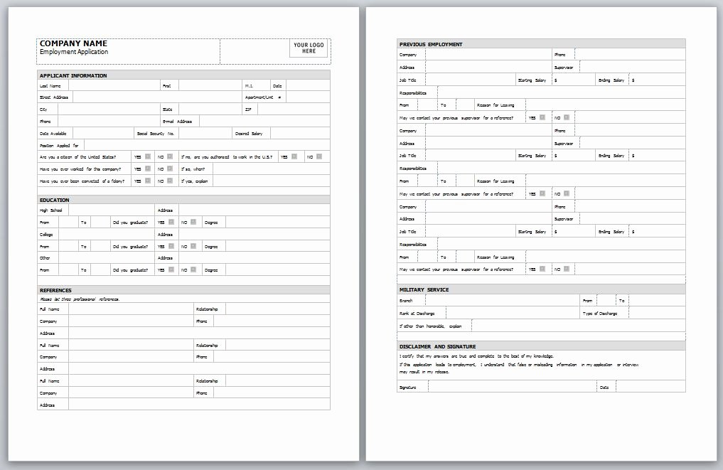 Employment Application Template