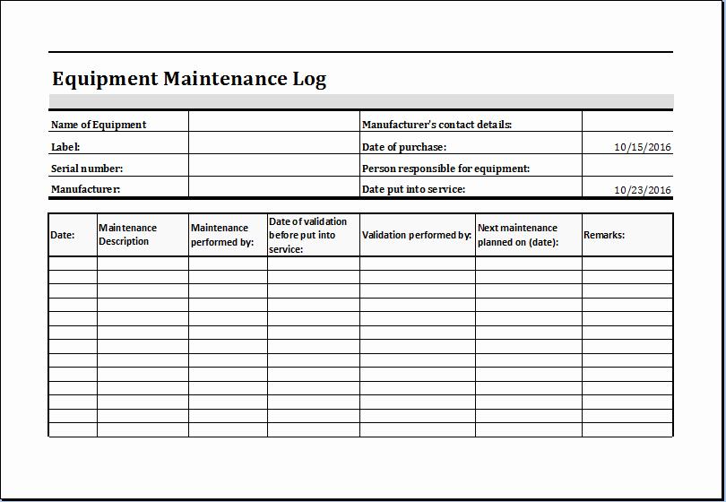 Equipment Maintenance Log Template Ms Excel