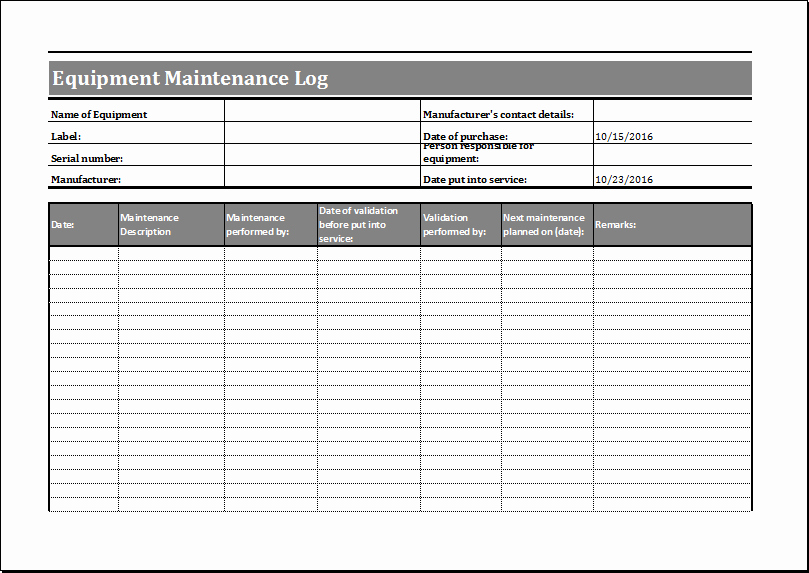 Equipment Maintenance Log Template