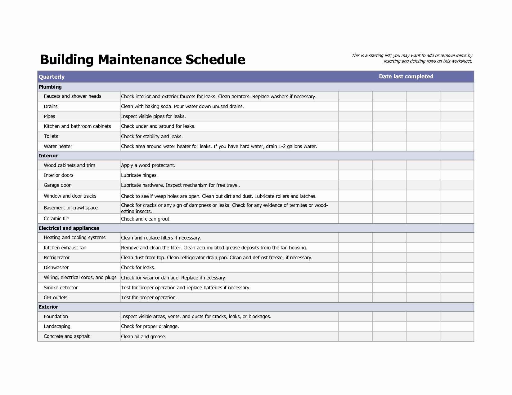 Equipment Maintenance Schedule Template Excel
