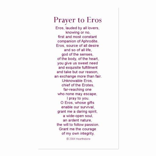 Eros Prayer Card Business Card Template