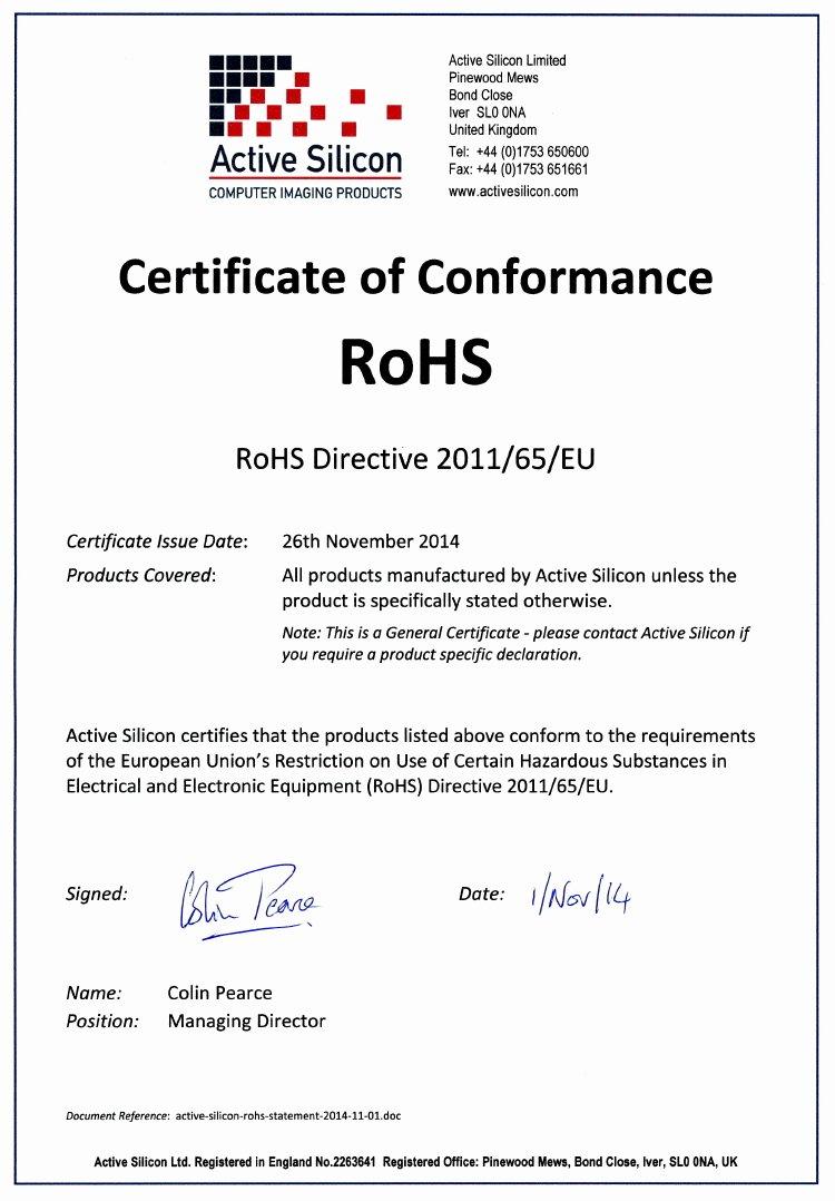 Eu Rohs Certificate Pliance Template Templates