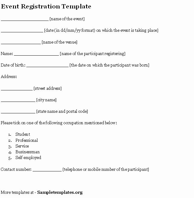 Event Template for Registration Example Of event