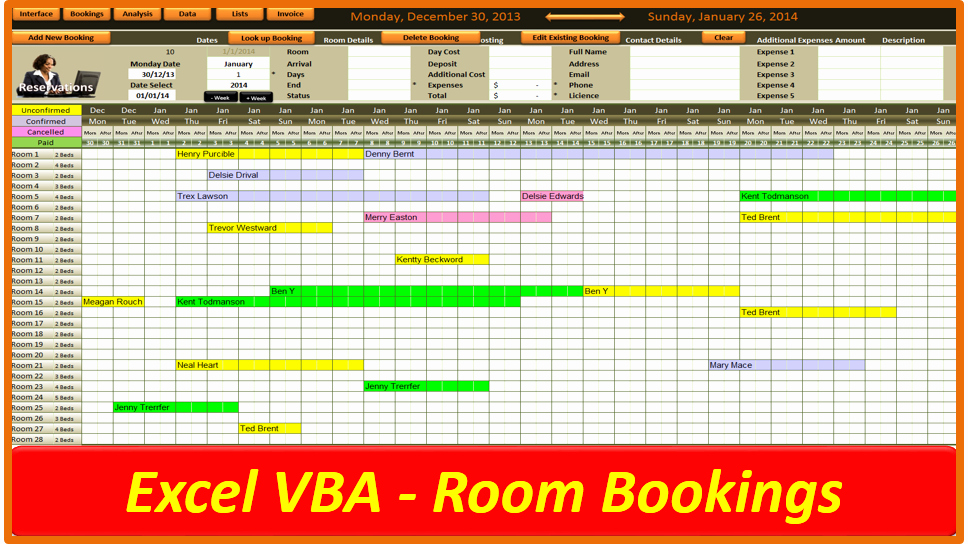 Excel Room Booking System Line Pc Learning