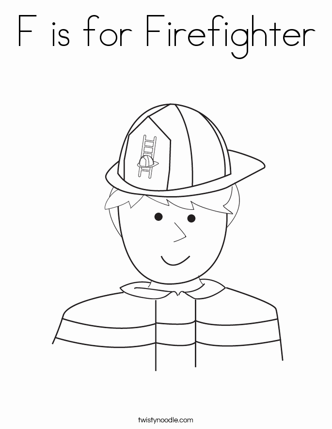 F is for Firefighter Coloring Page Twisty Noodle