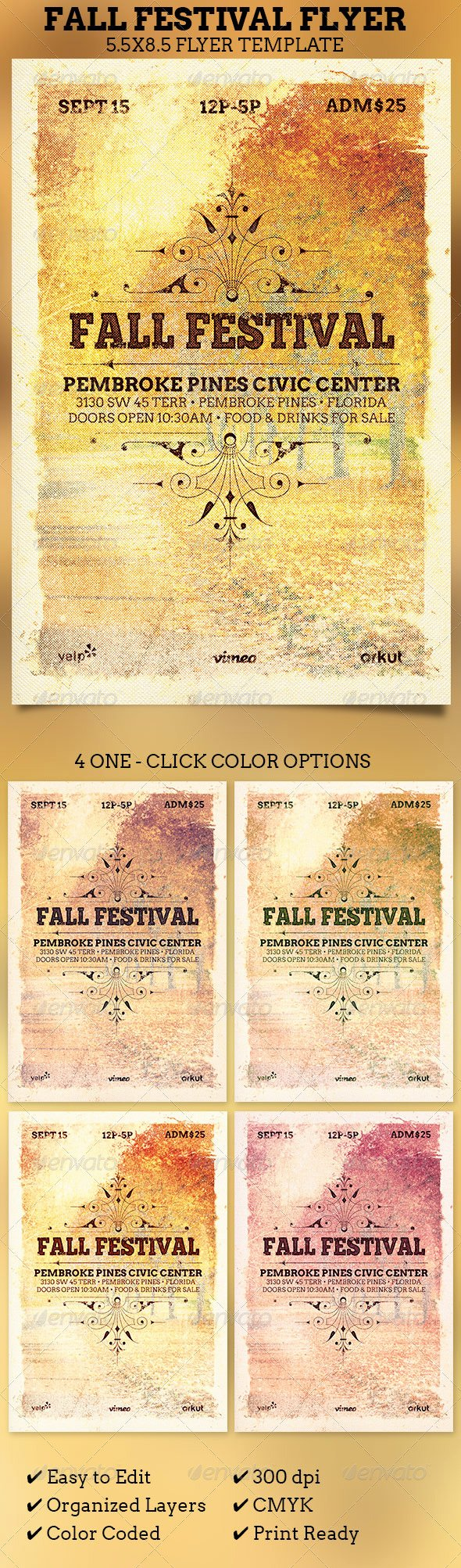 Fall Festival Flyer Template by 4cgraphic
