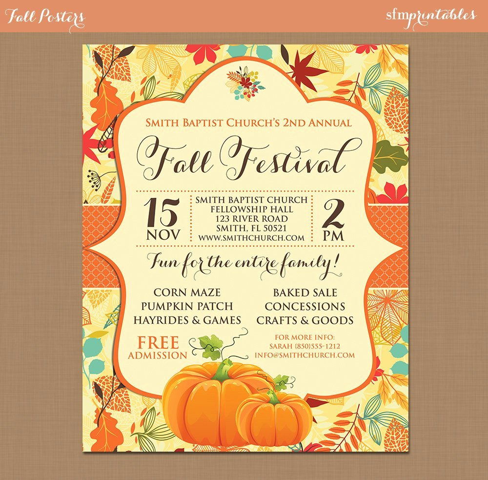 Fall Festival Harvest Invitation Poster Pumpkin Patch Farm