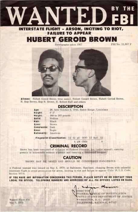 Fbi Wanted Poster Hubert Geroid Brown Aka H Rap