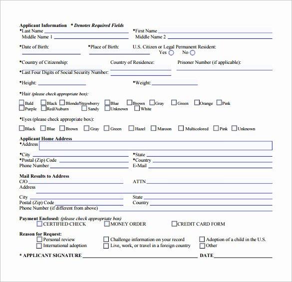 Form New Sample form for Criminal Background Check