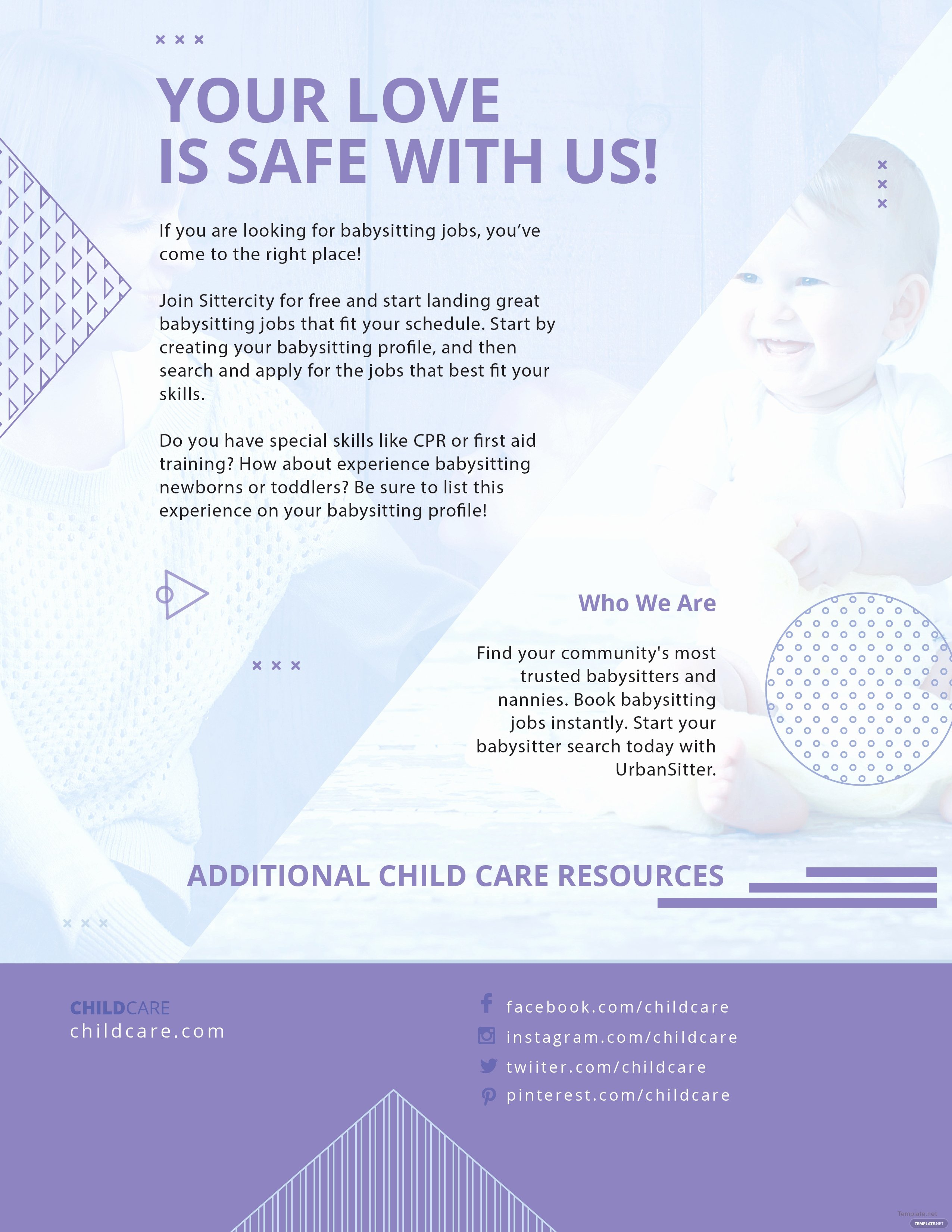 Free Baby Sitting Flyer Template In Adobe Shop
