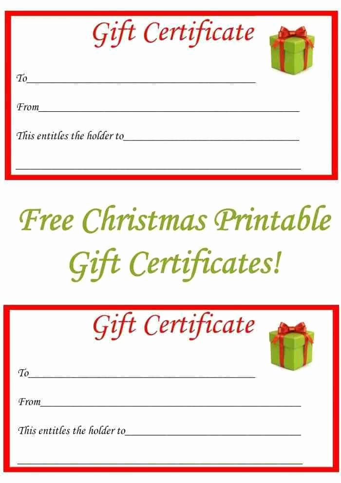 Free Christmas Printable Gift Certificates