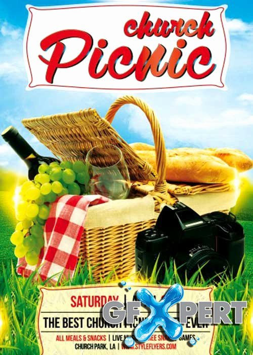 Free Church Picnic Psd Flyer Template
