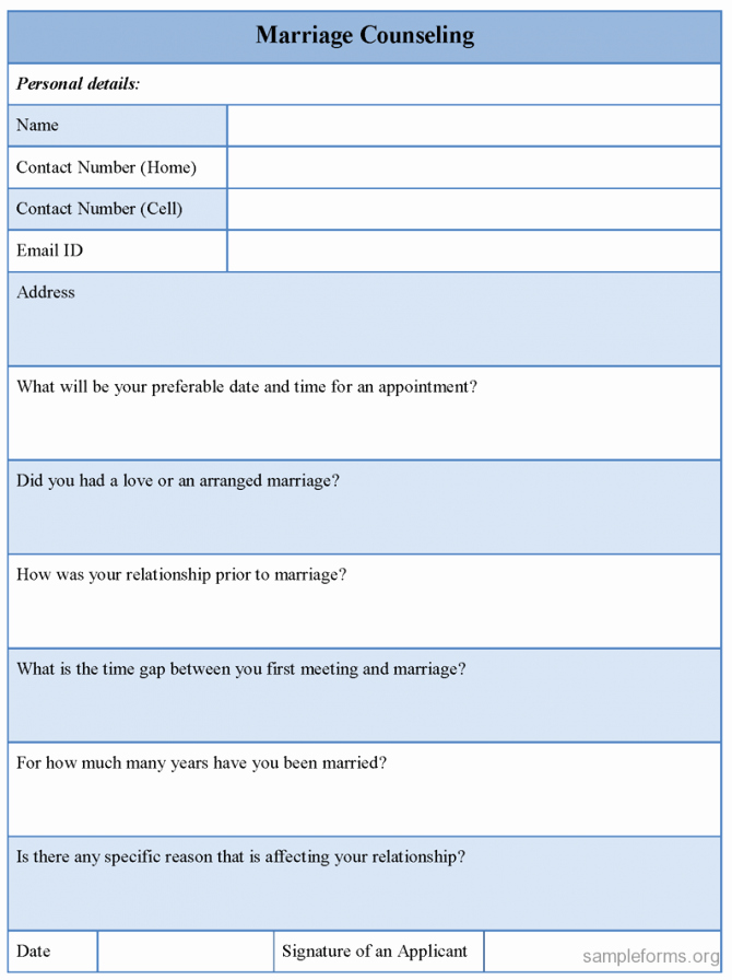 Free Counseling forms Templates