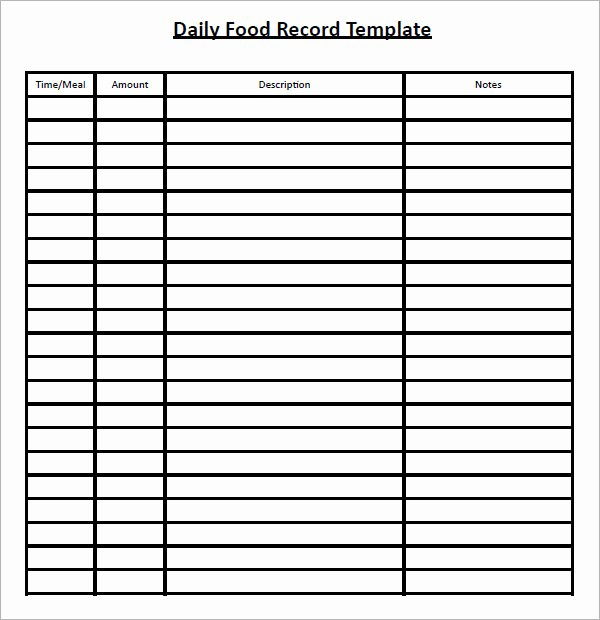 Free Food Diary Template Excel