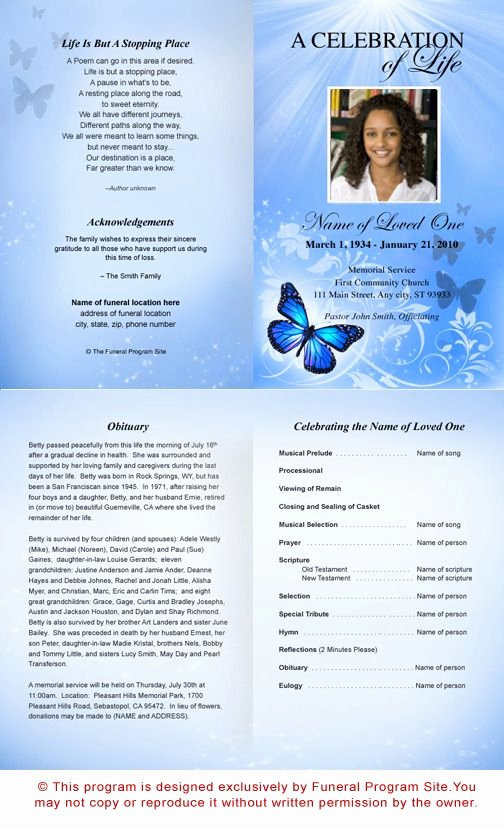 Free Funeral Program Template Download | Free Funeral Program Templates Latter Example Template