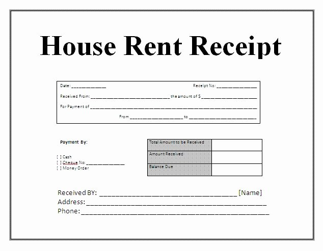 Free House Rental Invoice Receipt Template