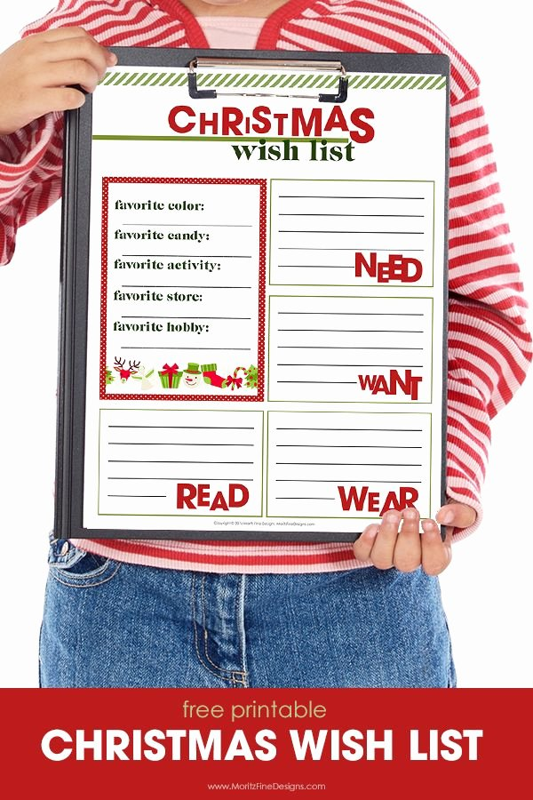 Free Printable Christmas Wish List