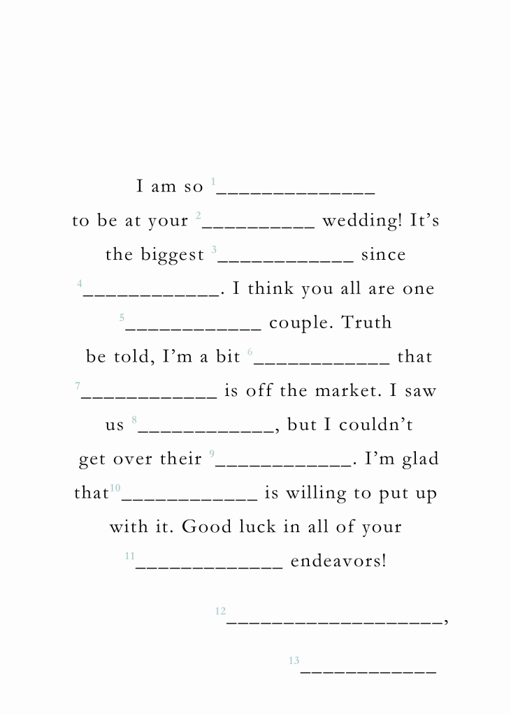 photograph relating to Free Printable Wedding Mad Libs Template referred to as Totally free Printable Wedding day Ridiculous Libs Latter Instance Template
