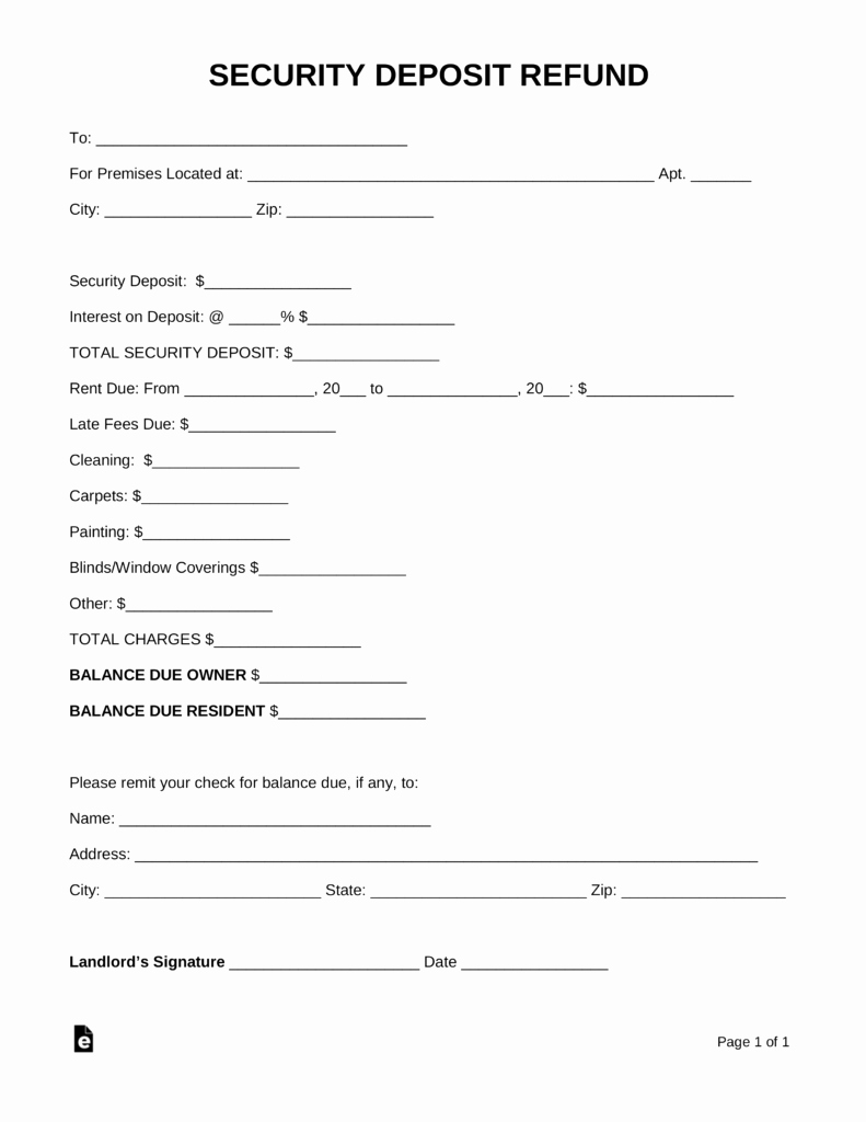 Free Security Deposit Return Letter Pdf Word
