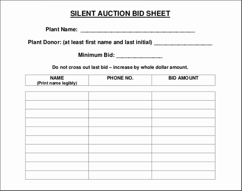 Free Silent Auction Bid Sheet Template for Mac Examples