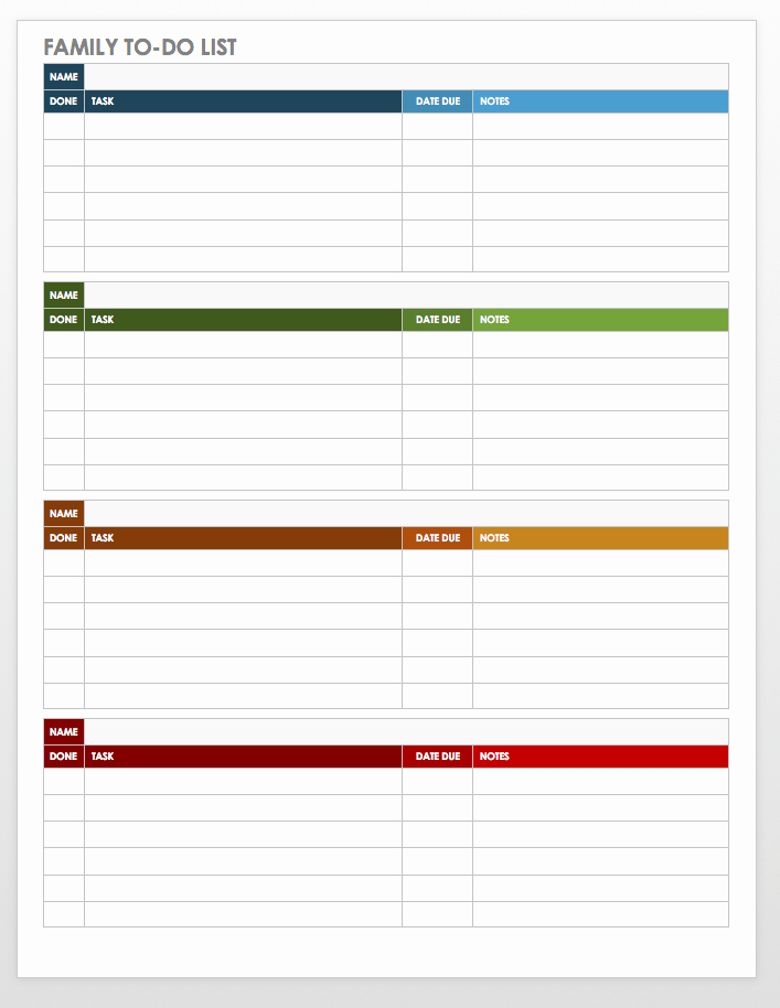 Free Task and Checklist Templates