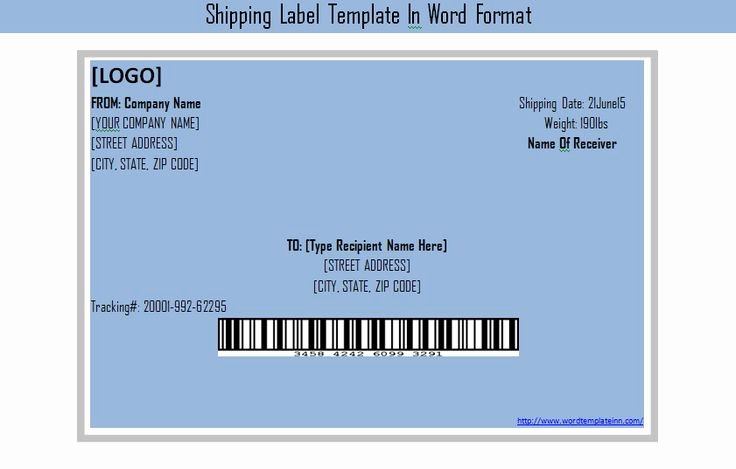 Get Shipping Label Template In Word format