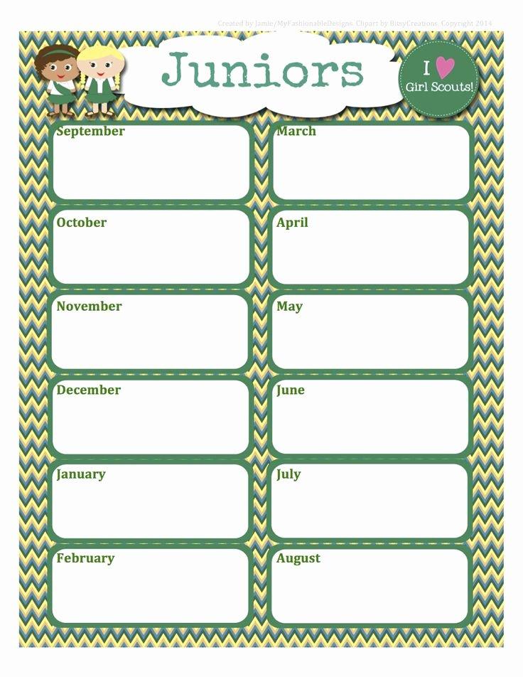 Girl Scouts Free Juniors Calendar Editable Word format