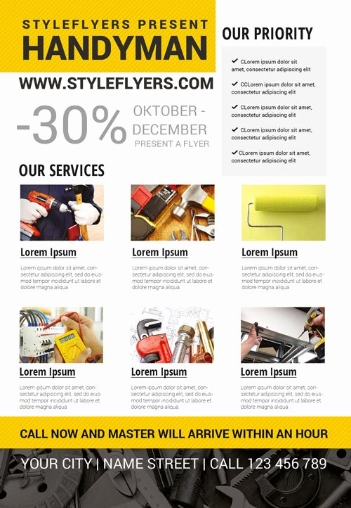 Handyman Business Free Flyer Template Download for Shop