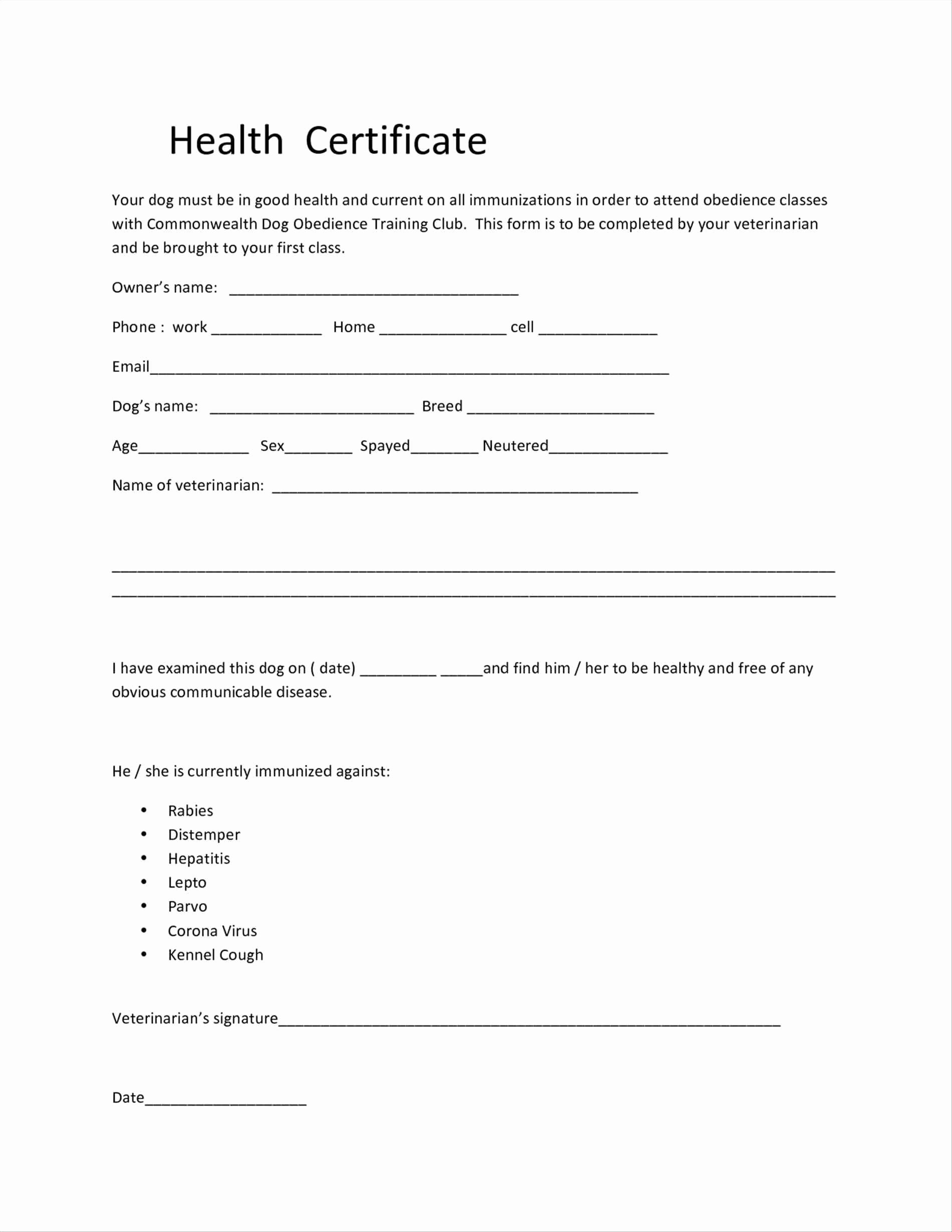 Health Certificate format Kenindle fortzone