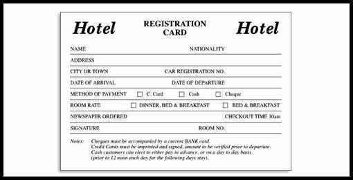 Hotel Register Card How Hotel Register Card Can Increase