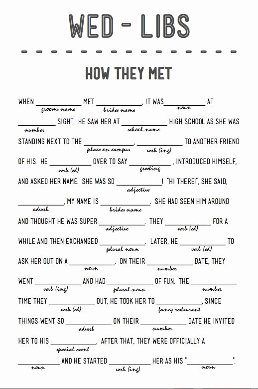 How they Met Free Printable Wedding Mad Libs